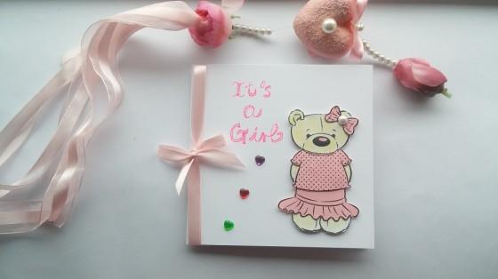 Handmade New Baby Girl Card Personalised Newborn Card Birthday